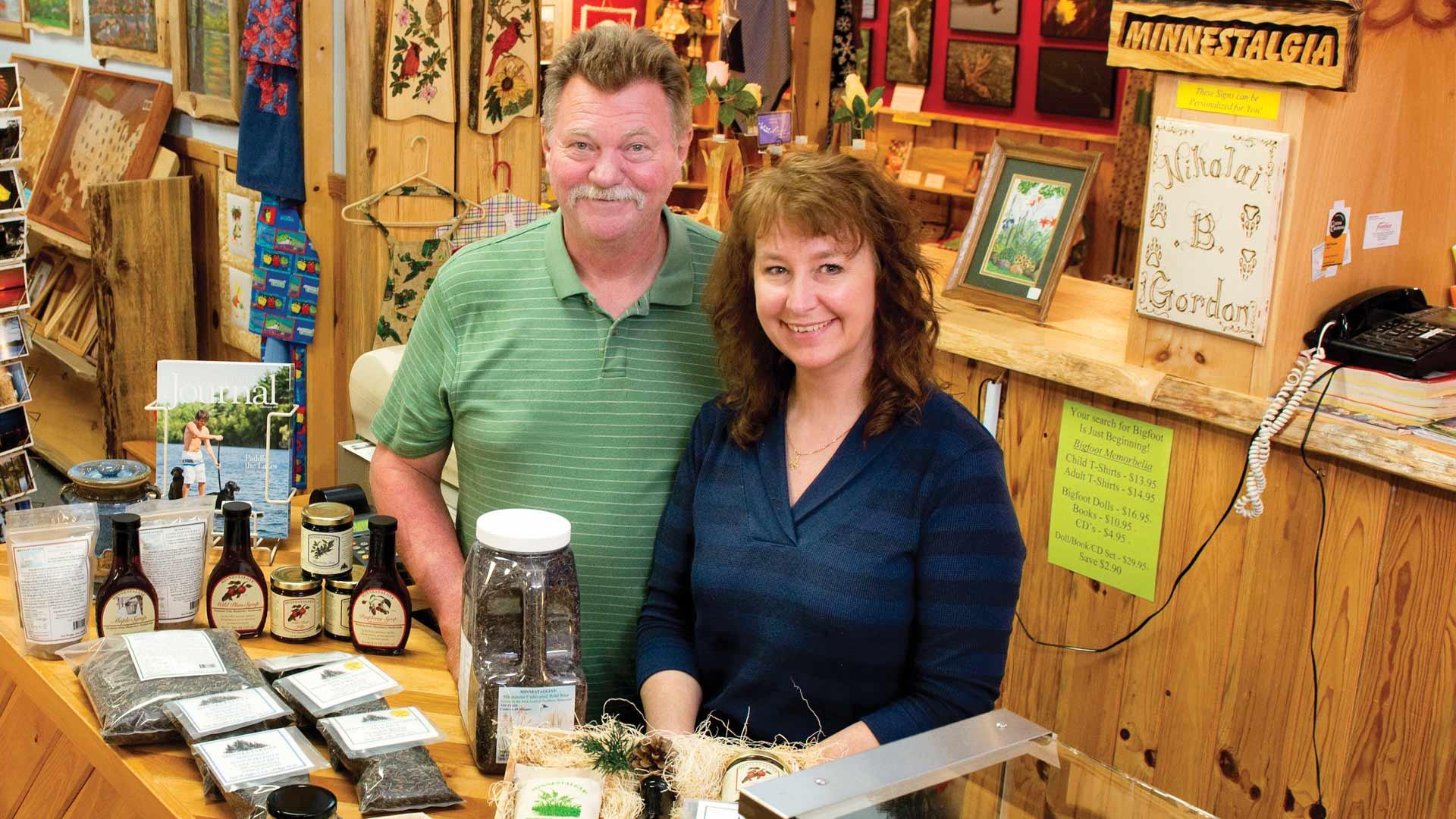 two people in Minnesota Minnestalgia gift shop